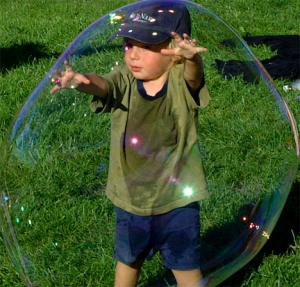 kid in bubble